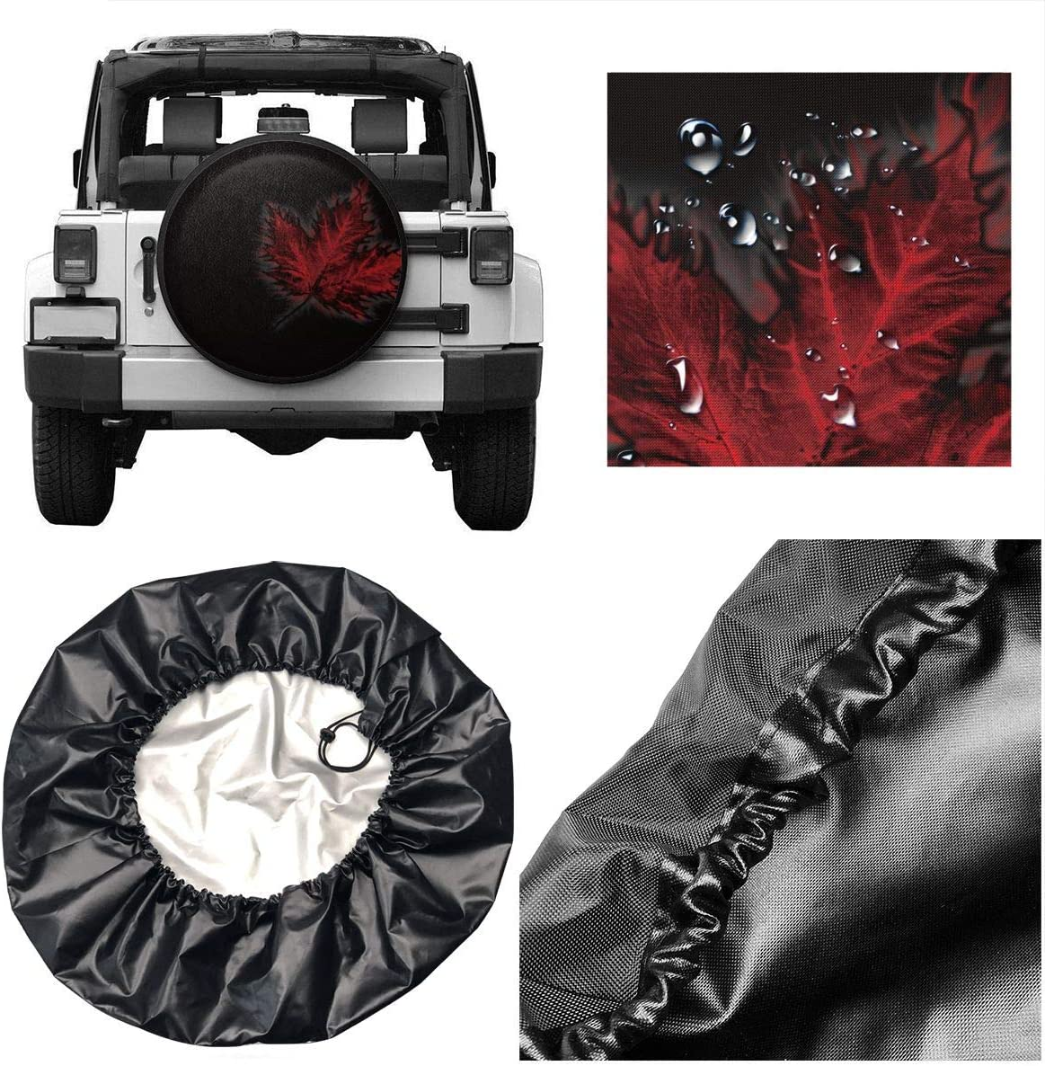 CaLOV Canada Flag Maple Leaf Spare Tire Cover Protector Waterproof Dust-Proof Wheel Covers Fit for Jeep Liberty Rv SUV Camper Travel Trailer Accessories 14 15 16 17