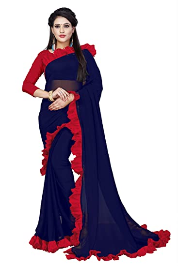 72887d03e50ac Krishna Adv Women s Georgette Saree with Blouse Piece (navy blue   red)   Amazon.in  Clothing   Accessories