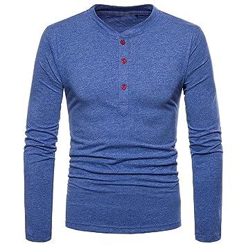 Ropa Hombre Camisetas, ❤️Zolimx Camisetas Hombre Originales Baratas Blusa Casual de Manga Larga de Color Sólido con Manga Larga de Corte Slim para ...