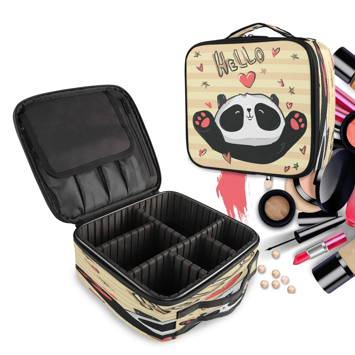 Travel Makeup Case Hello Love Heart Animal Panda Funny Cute Cosmetic Bag Box Professional Train Case Large Make Up Storage Organizer with Adjustable Dividers & Brush Section for Women Girls Hard Shell