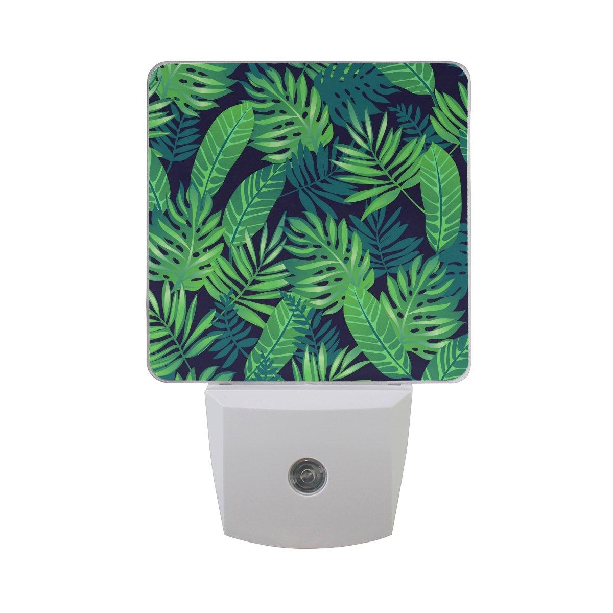 2パックTropical Leaves Green印刷プラグインLED夜ライトランプwith Dusk Dusk Leaves to Dawnセンサーfor Kids寝室、バスルーム、廊下 to、階段、0.5 W B07CQFH3NT, アクセサリーshop eito:d0aa9903 --- ijpba.info