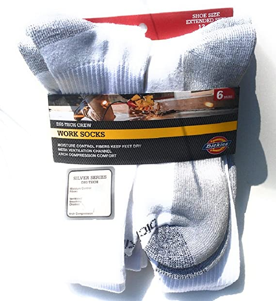 fc9fc9247 Image Unavailable. Image not available for. Color: Dickies Men's Dri-Tech  Comfort Moisture Control Crew Socks ...