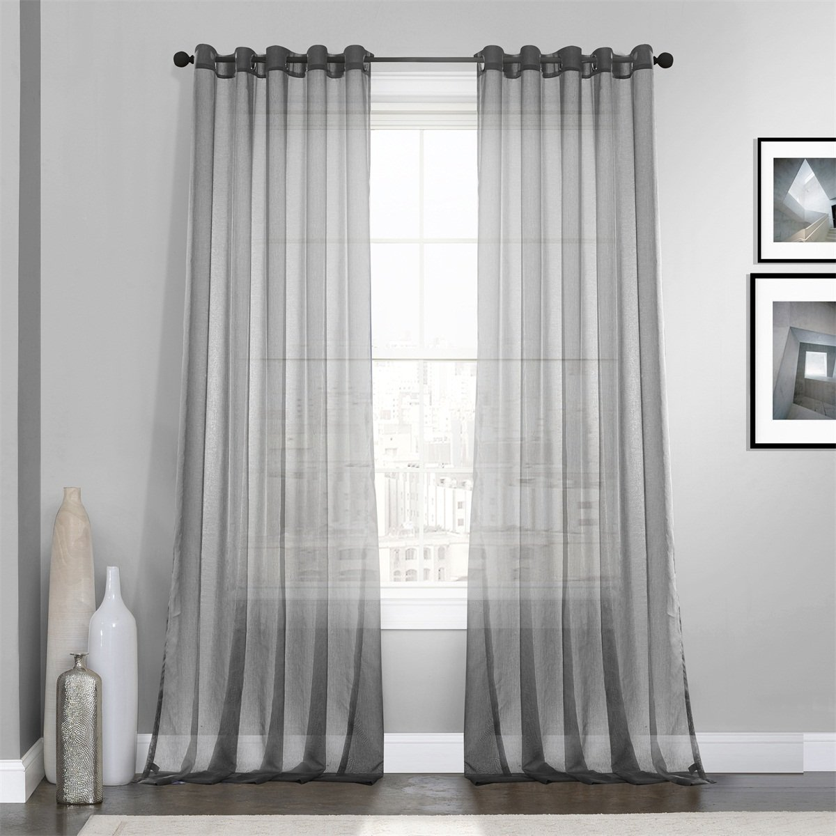 Dreaming Casa Grey Solid Sheer Curtains Voile Window Treatment/Draperies 52'' W x 96'' L (2 Panels)/Grommet Top
