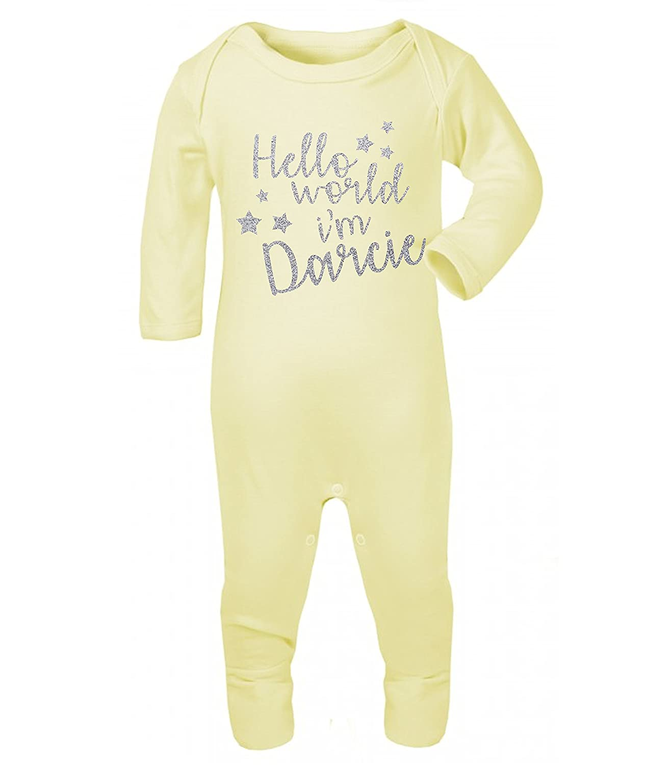 Personalised Hello World I'm Name Glitter Babygrow Baby Vest New Baby Gifts Newborn baby Gifts Personalised Babywear Hospital Outfit
