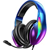 PeohZarr Gaming Headset Xbox One Headset PS4 Headset PS5 Headset, Flowing Aurora Lights Rainbow RGB Super Comfy Earmuffs, 7.1