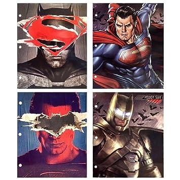 DC Comics Batman Superman Liga de la justicia, 3 anillas cartera carpetas con bolsillos, pack de 4 unidades: Amazon.es: Oficina y papelería