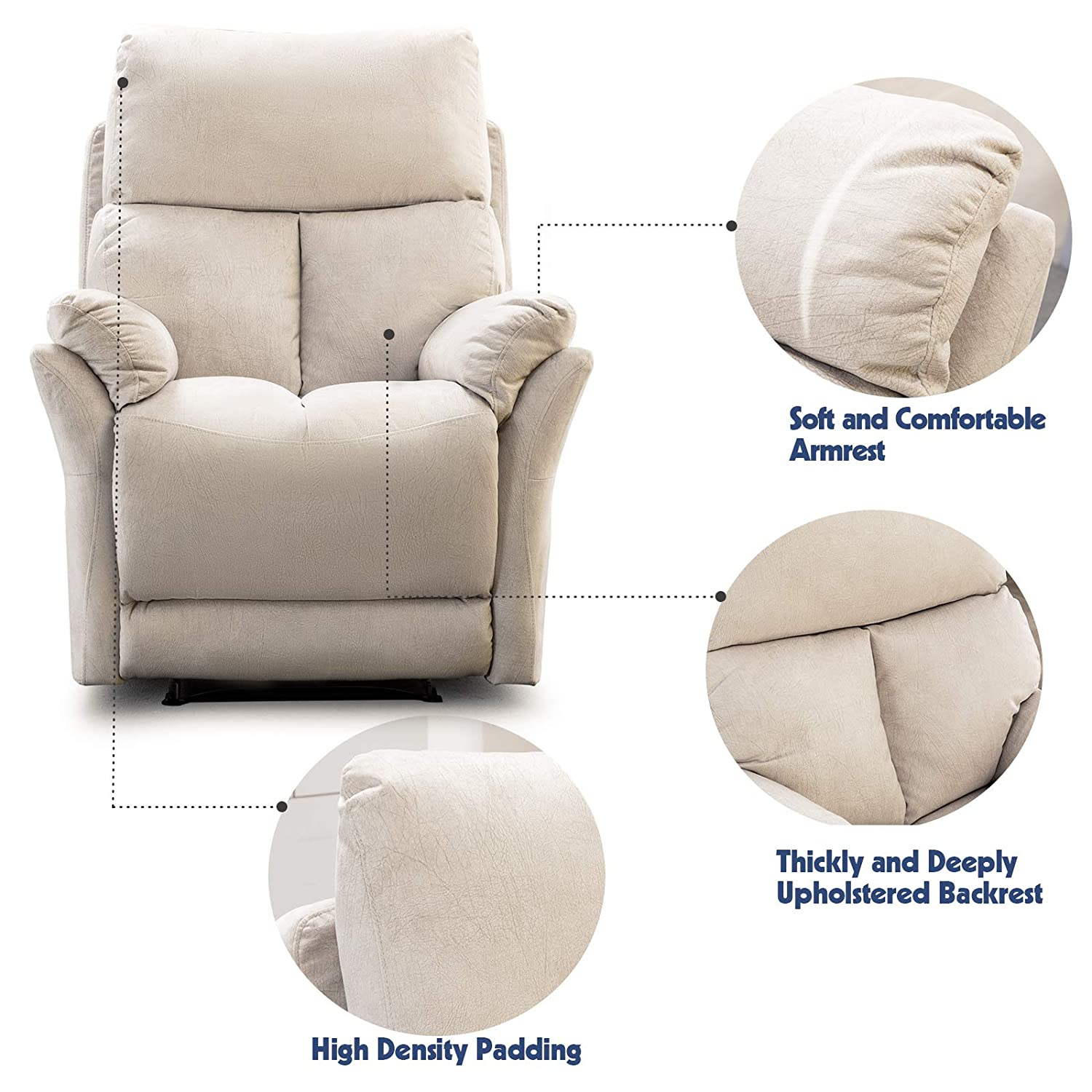 Terrific Anj Manual Recliner Living Room Reclining Chair Soft With Overstuffed Armrest And Back Beige Pdpeps Interior Chair Design Pdpepsorg