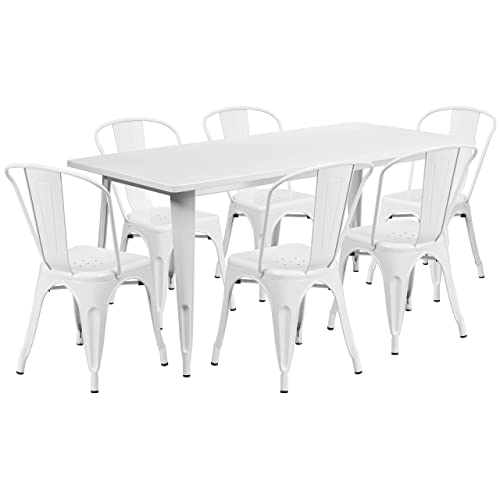 Flash Furniture 31.5 x 63 Rectangular White Metal Indoor-Outdoor Table Set with 6 Stack Chairs