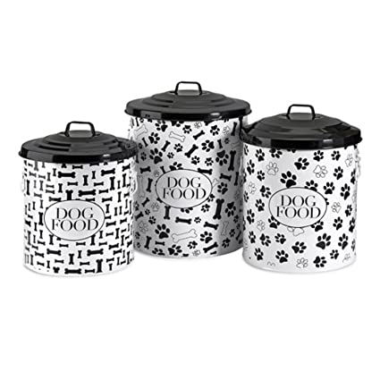 CC Home Furnishings Set Of 3 Decorative Lidded Dog Food Storage Containers    19u0026quot;