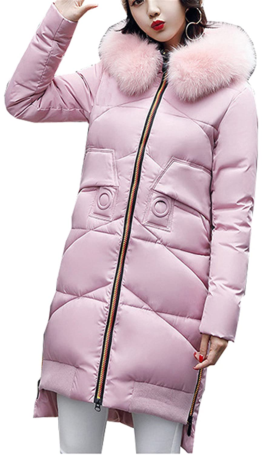 Pink Allonly Women's Hooded Cotton Parka Long Down Coat With Faux Fur Collar