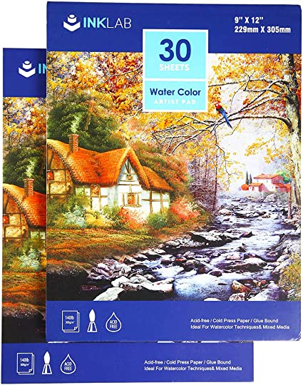 Cold Press Paper 9x12 in Size 130 IB // 190 GSM Weight Water Painting Art Notebook Pad Bellofy 50 Sheet Watercolor Paper Pad