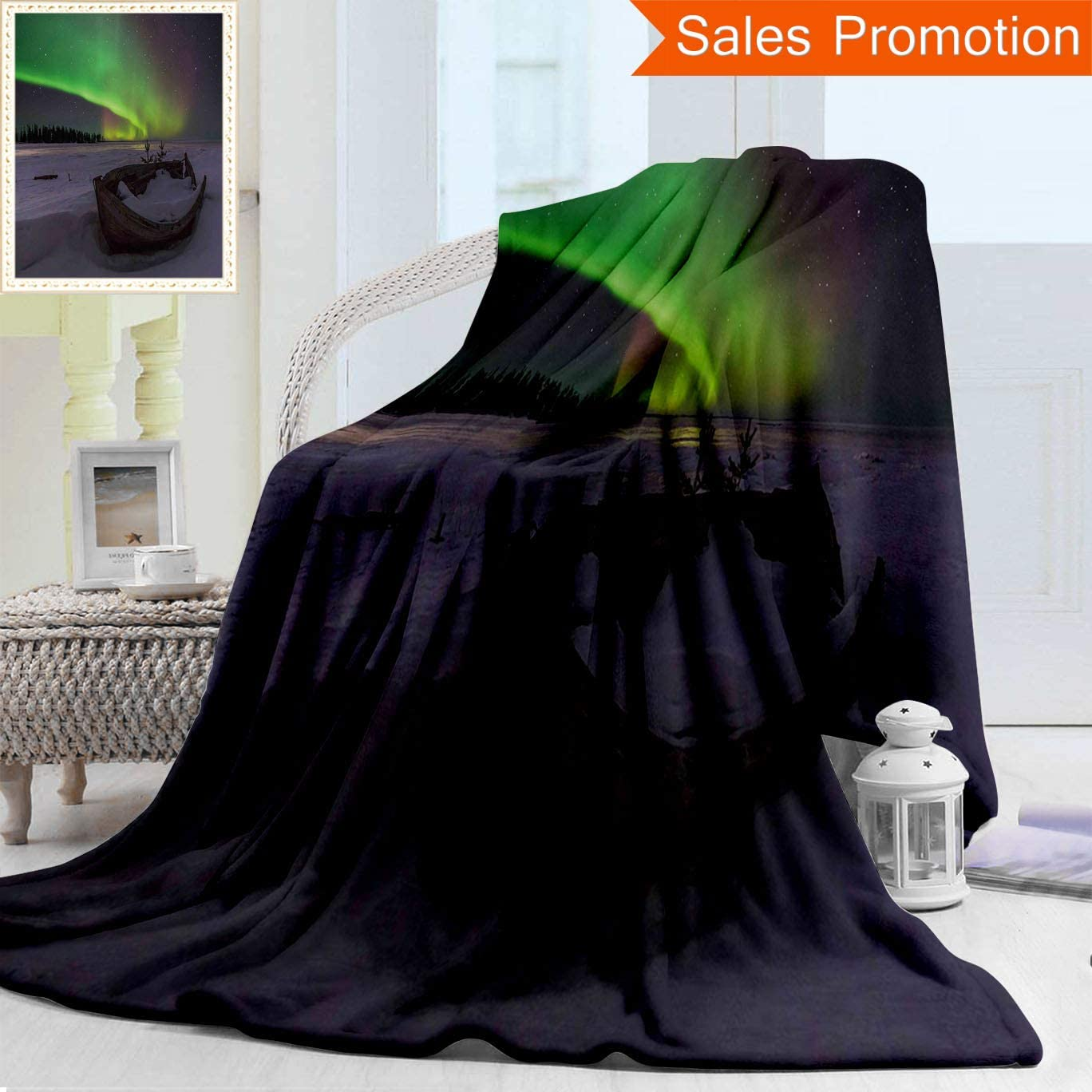 Amazon Com Unique Custom Warm 3d Print Flannel Blanket Northern Lights Winter Landscape With Wooden Boat Galaxy Illumination Nobody Cosmos Image Cozy Plush Supersoft Blankets For Couch Bed Twin Size 60 X 80