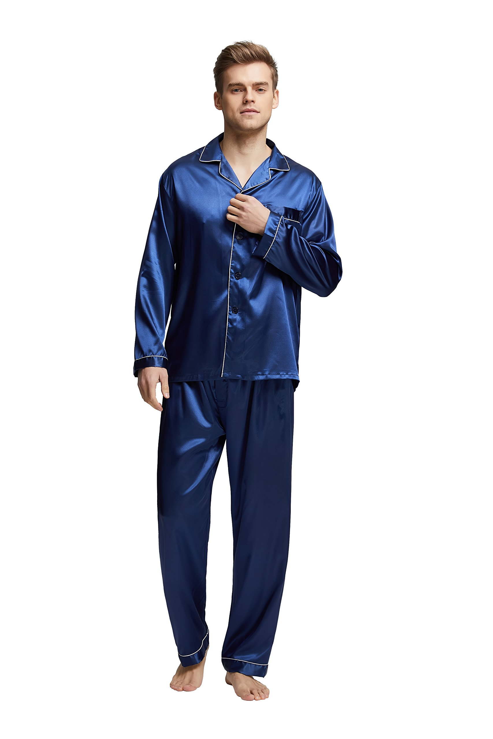 Tony & Candice Men's Classic Satin Pajama Set Sleepwear (X-Large, Blue With White Piping)