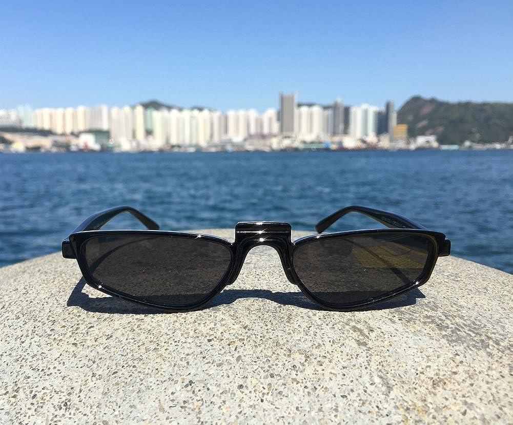 8044bd3dbb7 Amazon.com  Super Skinny Narrow Geometric Small Sunglasses for Women Men  Plastic Slim Frame (Black