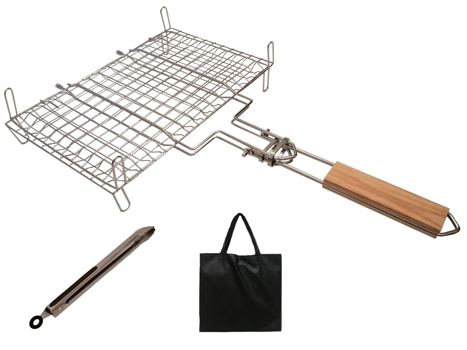 Grill Basket for BBQ, Camping, Charcoal Grill Basket with Stands, Resistant and full made of Stainless Steel for Grilling Fish ,Vegetables, Steak, Shrimp, Chops and more. Equipped with Barbecue Tongs.
