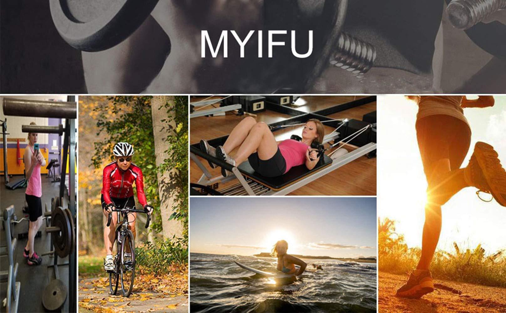 MYIFU Women's Solid Stretch High Waist Board Shorts Training Bike Sport Swim Short (X-Large, Dark Blue-2) by MYIFU (Image #6)