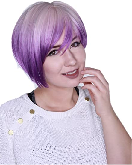 Prettyland Two Tone Tie Dye Straight Short Hair Wig White Blonde Purple With Gradient Ombre Strips C949 Amazon Co Uk Beauty