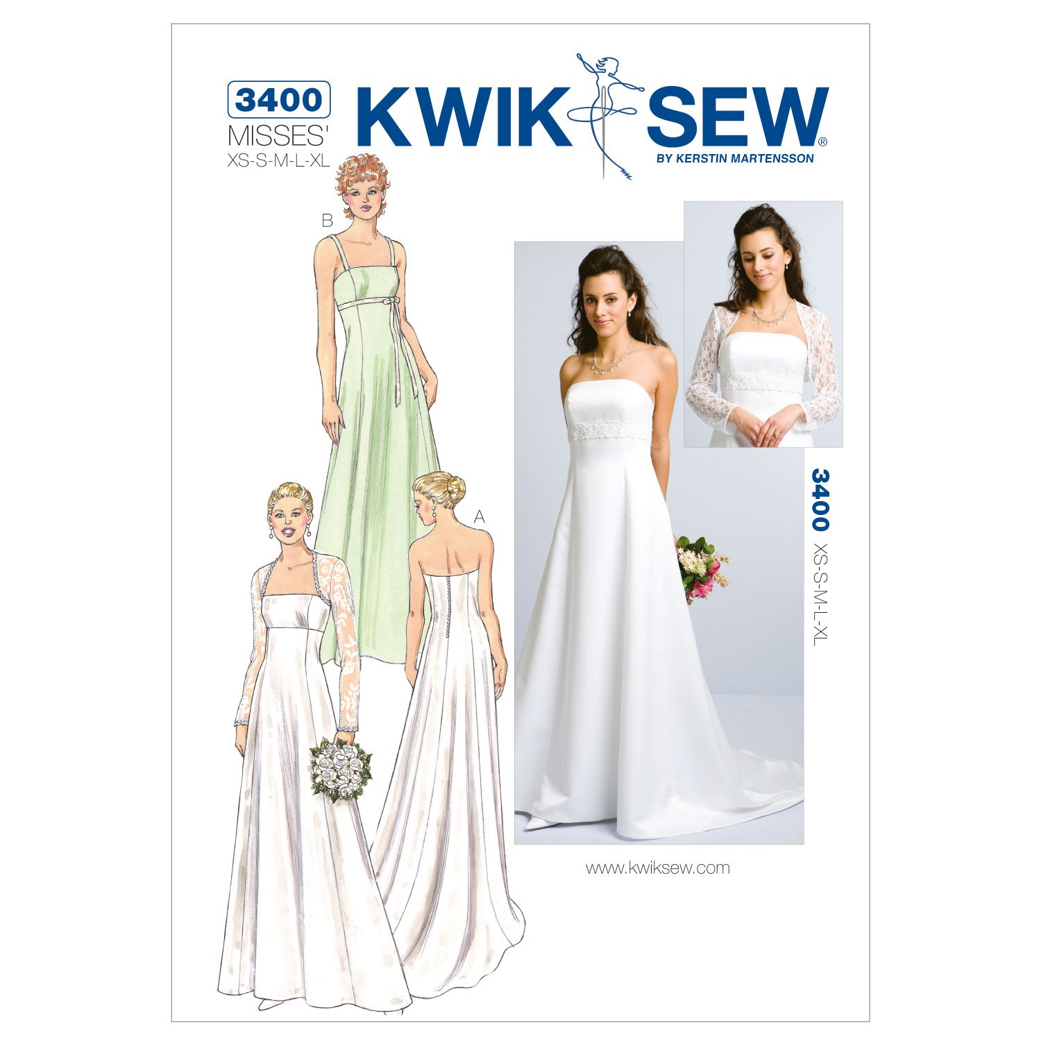 Amazon.com: Kwik Sew K3400 Gowns and Bolero Sewing Pattern, Size XS ...