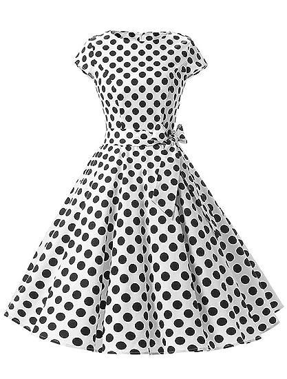 Mallimoda Donna Manica Corta Vestito Ragazze Vintage Anni  50 A-Line  Vestiti Cerimonia Partito d880c5b0299