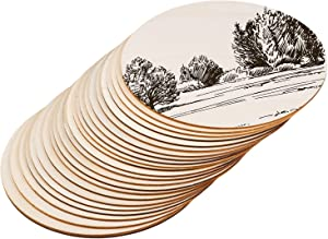 Motarto 24 Pieces 8 Inch Unfinished Wood Circles 0.1 Inch Thick Blank Wood Pieces for Craft Painting and Home Decoration