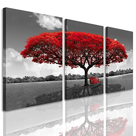 3 Panels Canvas Wall Art Red Tree Picture Prints on Canvas Landscape Painting Modern Giclee Artwork Stretched and Framed Ready to Hang Canvas Art for Home Decoration 30cmx40cmx3pcs