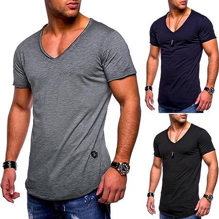 ❤Venmo Camisetas Hombre Originales,Camisas Hombre,Deportivas Hombre,Polos Hombre,Hombres Camiseta de Manga Corta de V culleo,Casual Slim Fit Camisetas ...