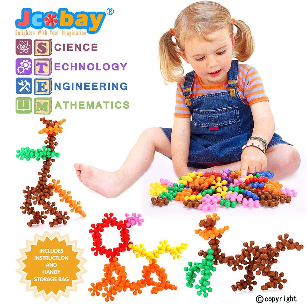 Jcobay Puzzles for Kids, Interlocking Building Blocks Preschool Educational Toys Solid Plastic Toddler Games Learning Stem Toy Construction Building Toy Set Gifts with 90 PCS for Girls, Boys Aged 3+