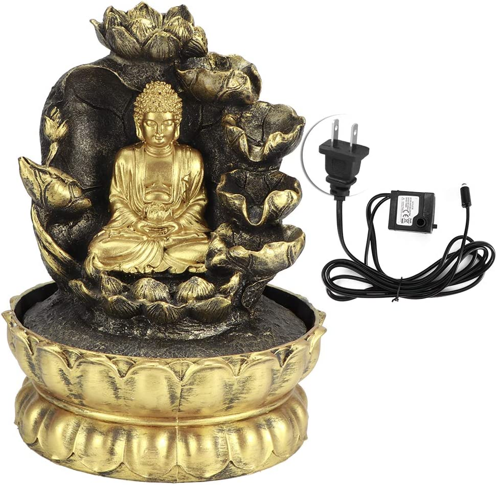 Innovative Resin Buddha Statue Flowing Water Fountain Tabletop Ornament with LED Lights for Home Office Decor(2#)