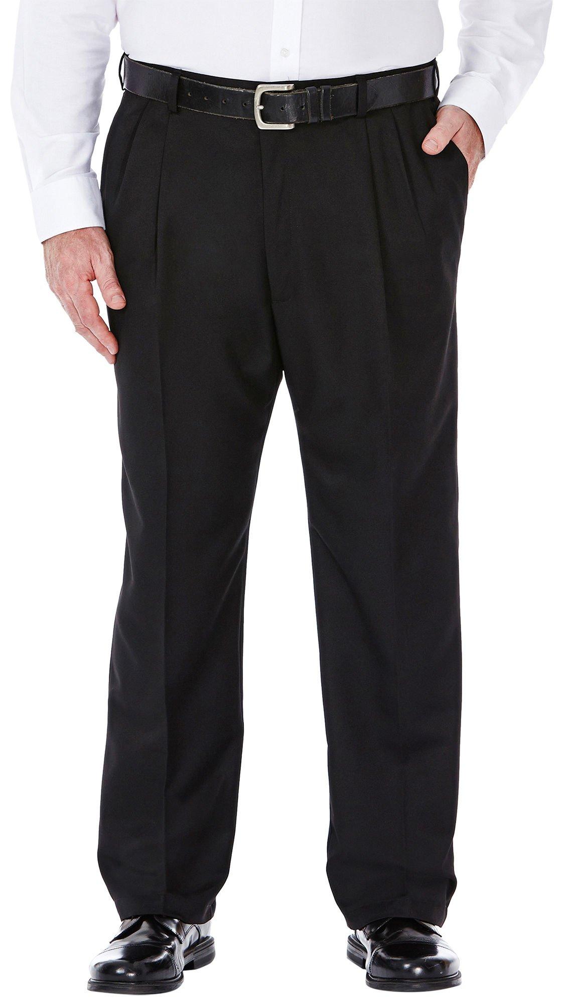 Haggar Men's Big-Tall Cool 18 Gabardine Hidden Expandable Waist Pleat Front Pant, Black, 60x30