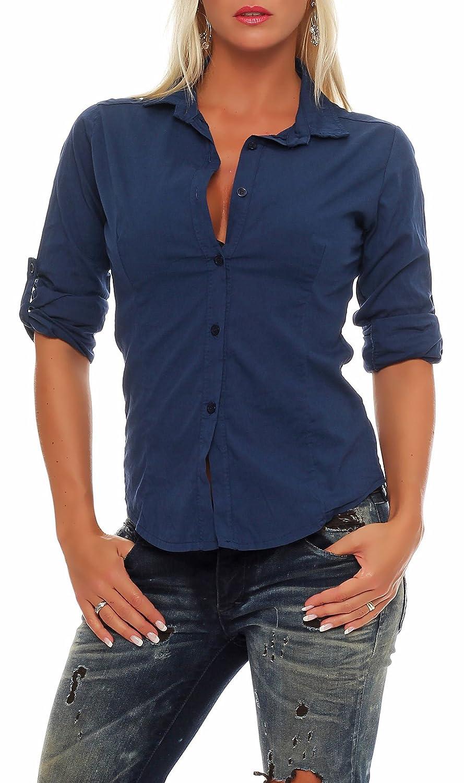Malito dam blus klassisk | tunika med knähöga armar | blusskjorta också lång ärm bärbar | Elegant – Shirt 8030 Mörkblå