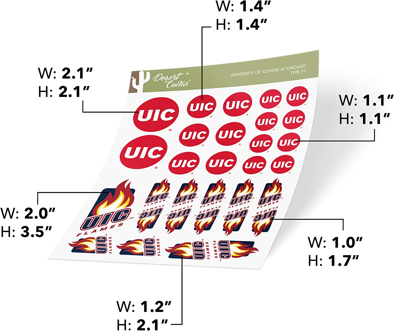 University of Illinois at Chicago UIC Flames NCAA Sticker Vinyl Decal Laptop Water Bottle Car Scrapbook Type 1-1 Sheet