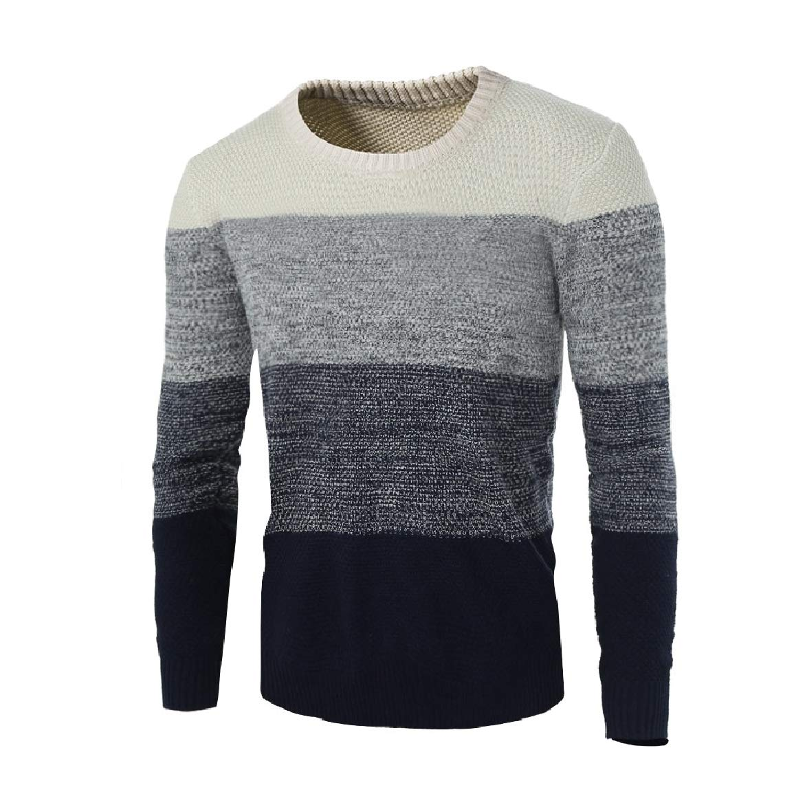 Winwinus Mens Lounge Splicing Knitted Slim Round Neck Contrast Top Sweater