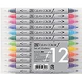 Kuretake Zig Twin Tip Marker Clean Color F, 12 Color Set (TCS-6000T/12V)