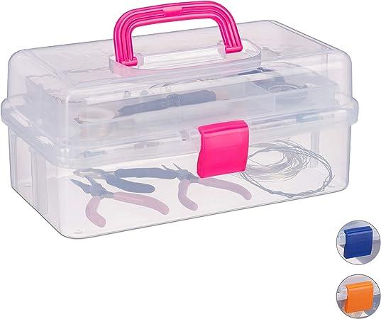 Relaxdays estuche de plástico, organizador con nueve compartimentos, asas, cierre click, rosa, 14 x 33 x 19 cm.: Amazon.es: Hogar