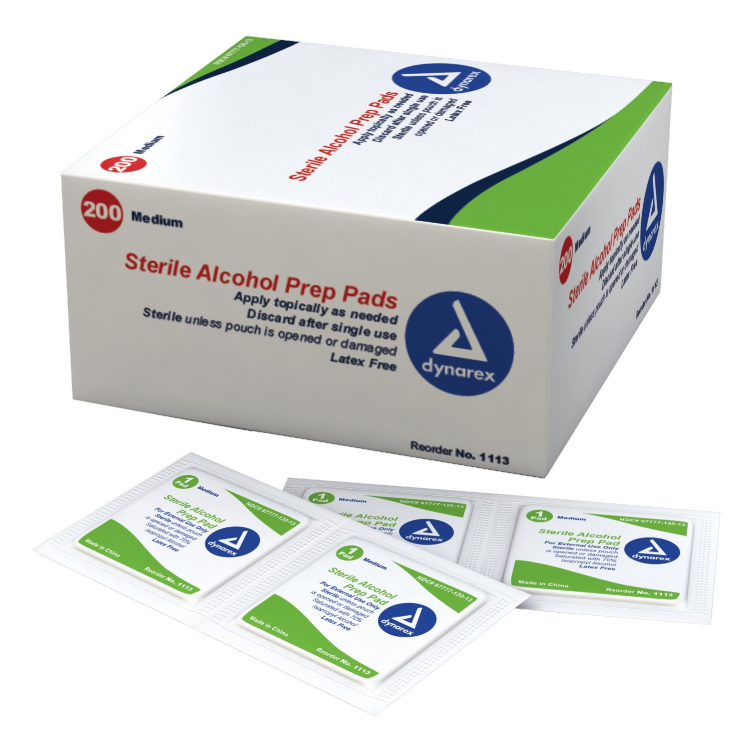 Dynarex 1113C Latex Free Sterile Alcohol Preparation Pad (Pack of 2000)