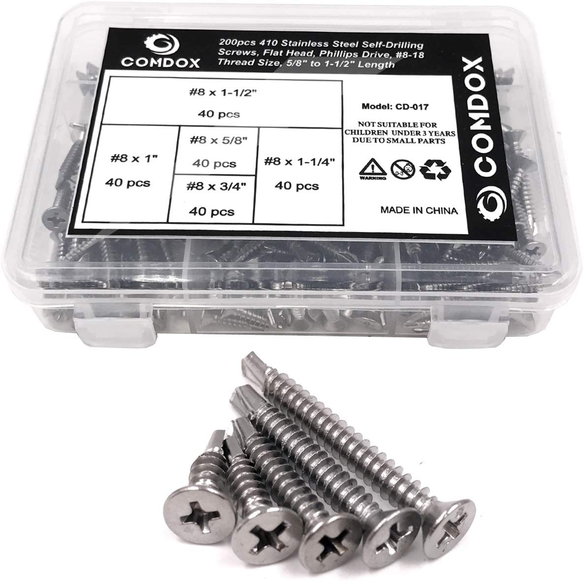 Hilitchi 410 Stainless Steel Pan Head Phillips Self Drilling Screws Sheet Metal Tek Screws Assortment Kit Size: #8 x 1//2 to #8 x 1-1//2 Modified Truss Head Self Driller Pack of 240