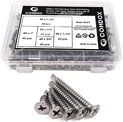 Self-Drilling Sheet Metal Screws 410 Stainless Steel #8 3//4 inch Self-Tapping Screws Quantity 50