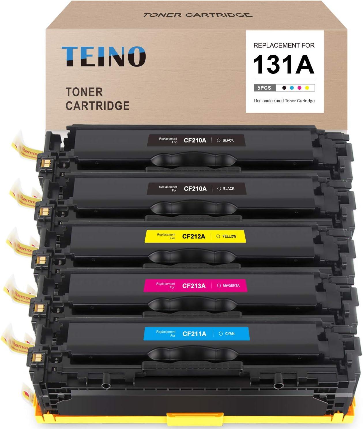 TEINO Remanufactured Toner Cartridge Replacement for HP 131A CF210A CF211A CF212A CF213A use with HP Laserjet Pro 200 Color M251nw M251n MFP M276nw M276n (Black Cyan Magenta Yellow, 5-Pack)