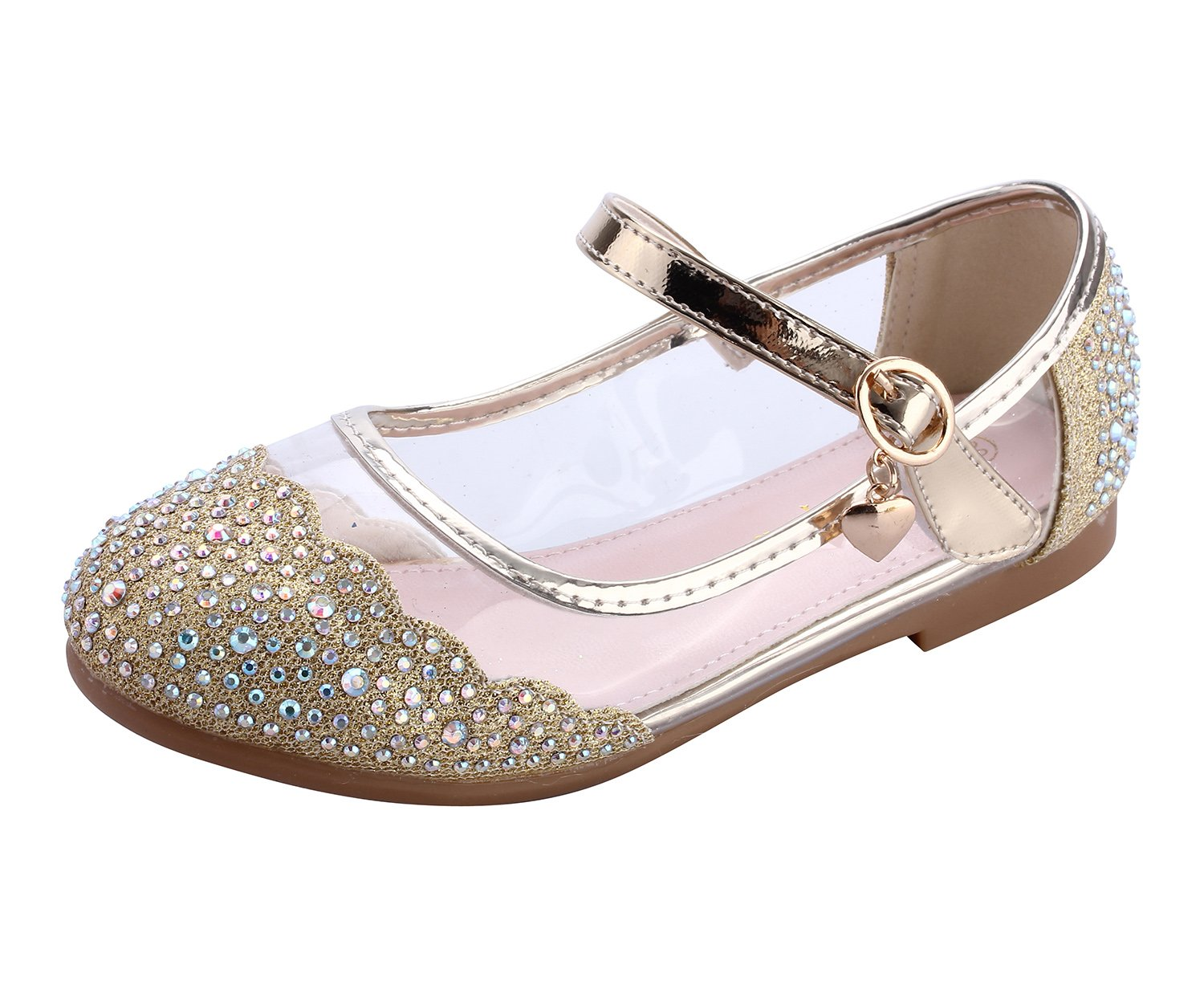 miaoshop Kids Flat Shoes Mary Jane Casual Slip On Ballerina Girls Glass Glitter Shoes (12.5 M Little Kid, Gold)
