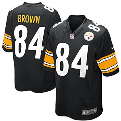 Mens NIKE Pittsburgh Steelers  84 Antonio Brown Player Black Jersey Large 8ca248ba9