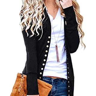 Cnfio Womens Long Sleeve Knit Button Down Cardigan V-Neck Basic Knitwear Sweater Black S