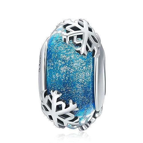 7adbcbeb2 925 Sterling Silver Charm fit Pandora Charms Bracelet Murano Glass Bead  Flower Charm Birthday Gifts Women