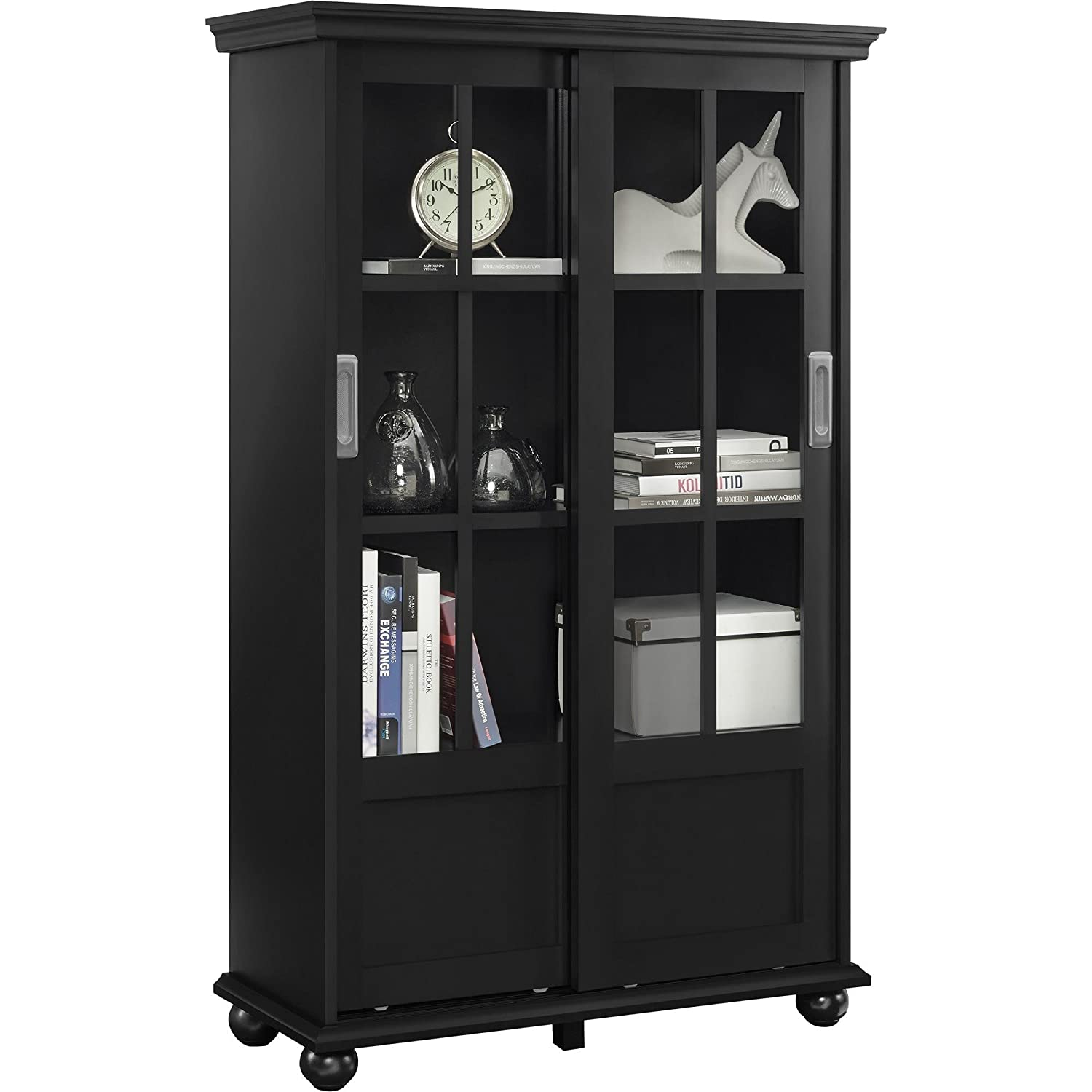 Amazon.com: Ameriwood Home Aaron Lane Bookcase with Sliding Glass Doors,  Black: Kitchen & Dining