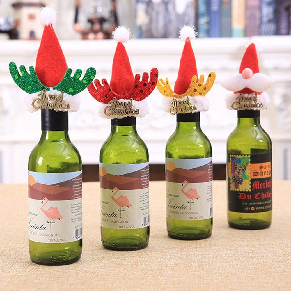 Womadee Adorno para Botella de Navidad, diseño de Papá Noel, decoración de Botella de Vino y Cerveza, 4 Paquetes: Amazon.es: Hogar