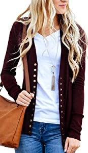 Win A Free Basic Faith Women's V-Neck Solid Button Tops Long Sleeve...