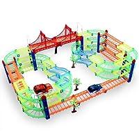 Magic Glow Tracks Twister Neon Série DNYCF Passage supérieur 3 étages Circuit Jouets Voitures Race Track DIY Construction de jouets avec 2 voitures cadeau de Noël pour enfants