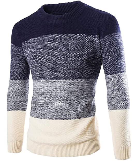 1964c97c4ace Gocgt Men's Color Block Long Sleeve Crew Neck Pullover Knit Sweater at  Amazon Men's Clothing store: