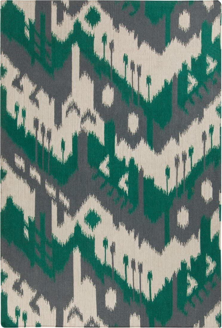 Surya Hand Woven Casual Area Rug, 8 by 11-Feet, Gray Emerald Kelly Green Ivory