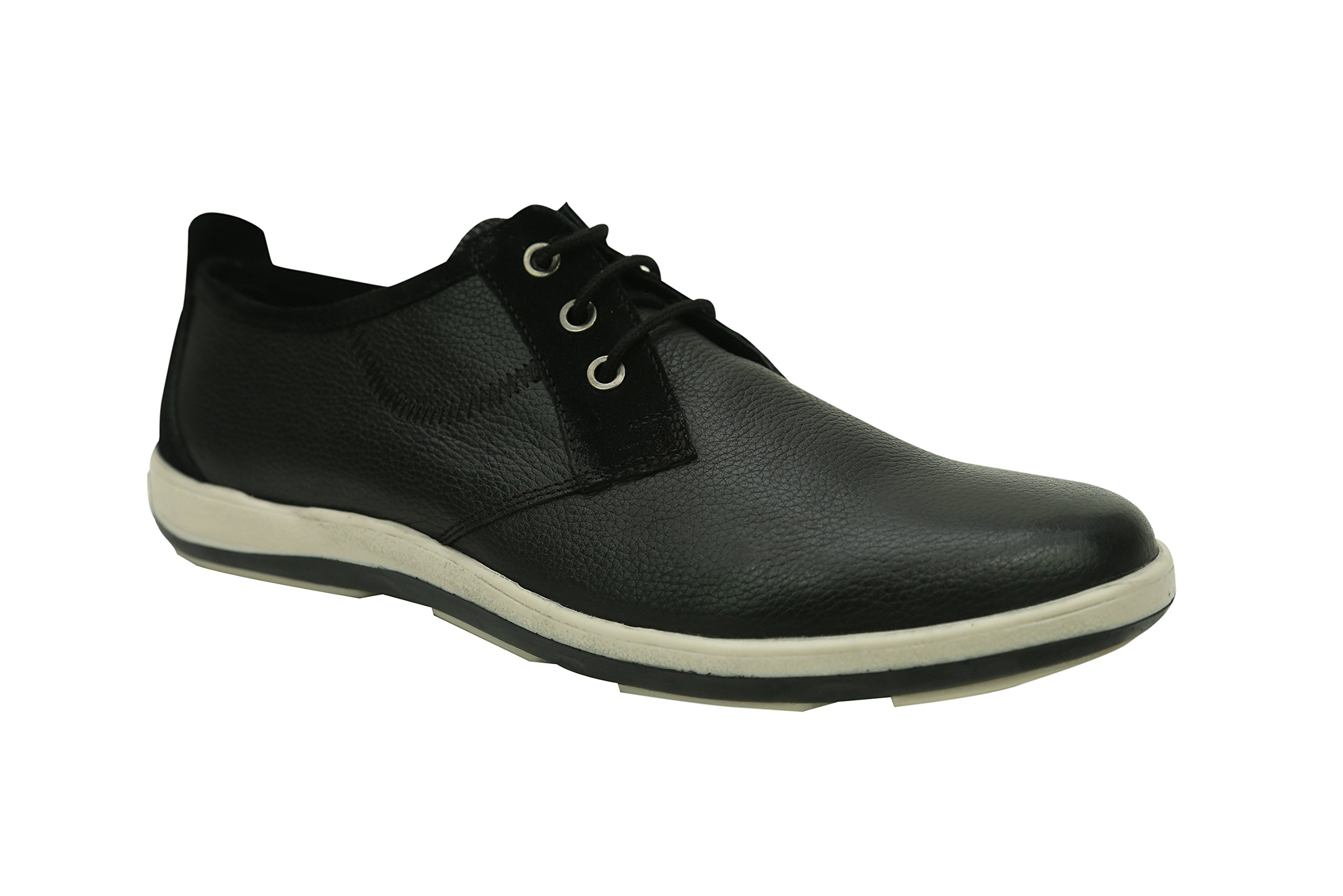 Andrew Fezza AF-L9604 Mike Oxford Leather Shoes with Suede Trim, Black Size-12