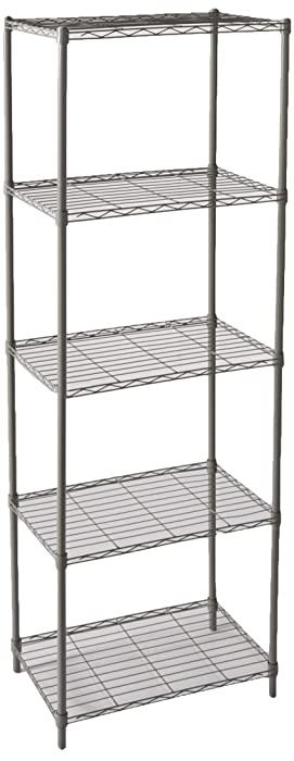 Home Basics Wire Shelving Storage Unit (5 Tier, Grey)
